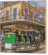 Green Carriage  Wood Print