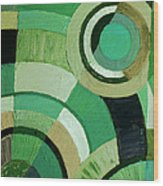 Green Circle Abstract Wood Print