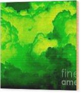 Green Clouds Wood Print