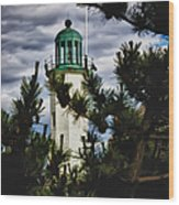 Green Copper Lantern Room On Scituate Lighthouse Wood Print