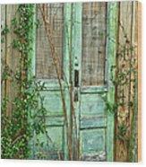 Green Cottage Doors Wood Print