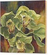 Green Cymbidium Orchids Wood Print