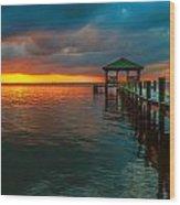 Green Dock And Golden Sky Wood Print