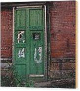 Green Door On Red Brick Wall Wood Print