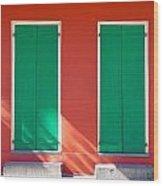 Green Doors With Sun Wood Print