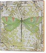 Green Dragonfly On Vintage Tin Wood Print