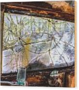 Green Drinking Glass And Smoky Bronken Windshield Wood Print