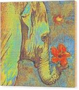Green Elephant Wood Print