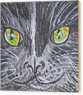 Green Eyes Black Cat Wood Print