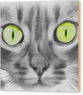 Green Eyes Wood Print