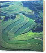 Green Farm Contours Aerial Wood Print by Blair Seitz