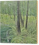 Green Fern Wood Print by Leo Gehrtz