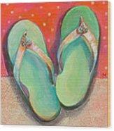Green Flip Flops Wood Print