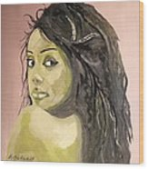 Green Girl  Wood Print by Roger Medcalf