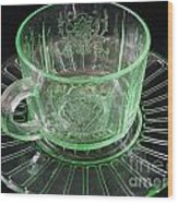 Green Glass Cup And Saucer Wood Print