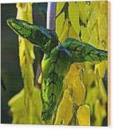 Green Glass Leaves Wood Print