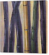 Green Gold And Black Bamboo Wood Print