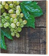 Green Grapes On A Rustic Wooden Table Wood Print