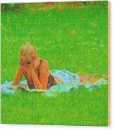 Green Grass Girl Wood Print
