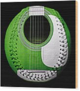 Green Guitar Baseball White Laces Square Wood Print