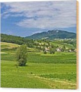 Green Hills Nature Panoramic View Wood Print