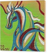 Green Horse Wood Print by Genevieve Esson