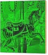 Green Horse Wood Print