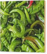 Green Hot Peppers Wood Print