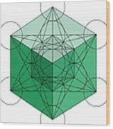 Green Hypercube Wood Print