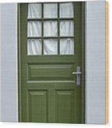 Green Iceland Door Wood Print