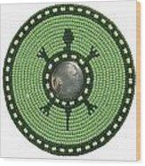 Green Indian Head Turtle Wood Print