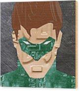 Green Lantern Superhero Portrait Recycled License Plate Art Wood Print