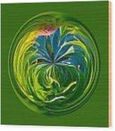 Green Leaf Orb Wood Print