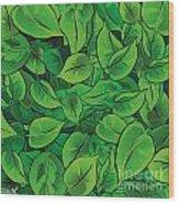 Green Leaves - V1 Wood Print