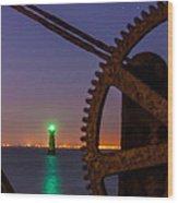 Green Lighthouse Wood Print