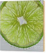 Green Lime In Tonic Water Wood Print