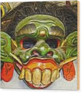 Green Mask Wood Print by Gregory Dyer