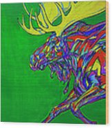 Green Mega Moose Wood Print