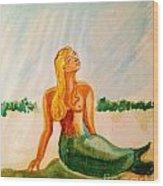 Green Mermaid Wood Print
