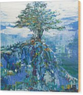 Green Mountain Tree Wood Print