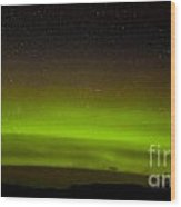 Green Northern Lights And Myriad Of Stars Wood Print