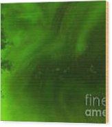 Green Northern Lights Night Sky Abstract Backdrop Wood Print