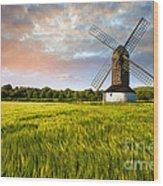 Green Ocean ''pitstone Windmill'' Wood Print