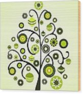 Green Ornaments Wood Print