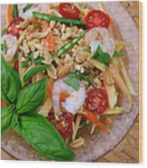 Green Papaya Salad With Shrimp Wood Print