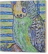 Green Parakeet Wood Print