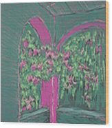 Green Patio Wood Print by Marcia Meade