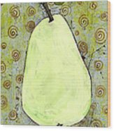 Green Pear Art With Swirls Wood Print by Blenda Studio