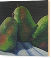 Green Pears With Shadows Cast Wood Print
