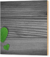Green Pedal Shaped Hearts Wood Print